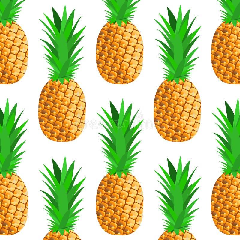 Fond sans couture avec l'ananas mûr illustration de vecteur