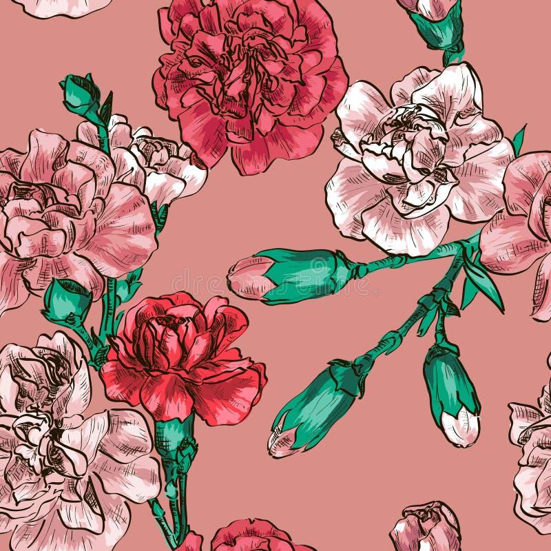 Fond sans couture avec l'oeillet rose de fleur illustration libre de droits