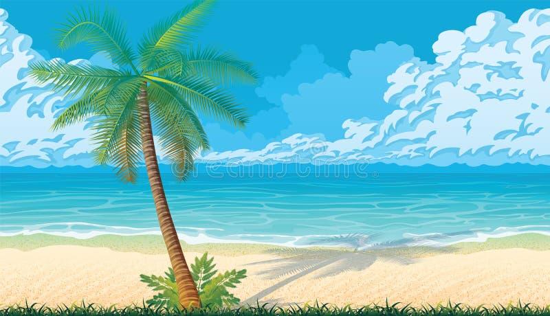 Fond sans couture avec la côte, océan, paumes illustration de vecteur