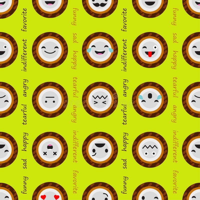 Fond sans couture avec la noix de coco d'émotions Dessin animé mignon Illustration de vecteur illustration stock