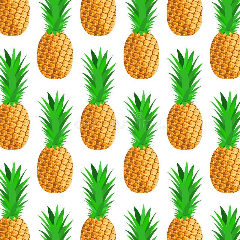 Fond sans couture avec le petit ananas mûr illustration libre de droits