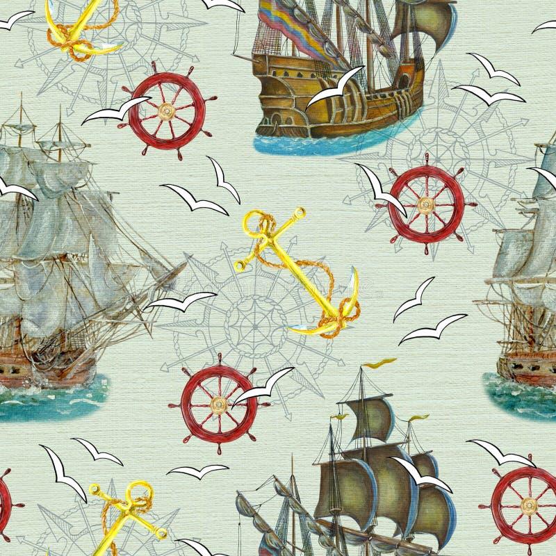 Fond sans couture avec les bateaux, l'ancre et les mouettes illustration stock