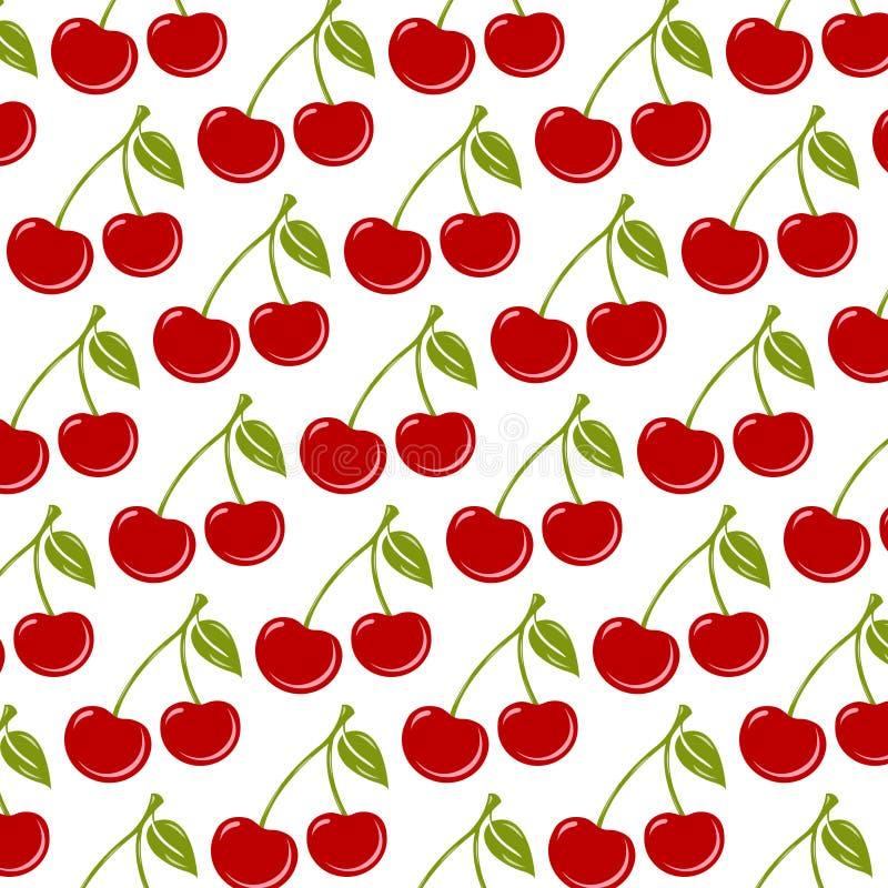 Fond sans couture avec les cerises rouges mûres illustration de vecteur