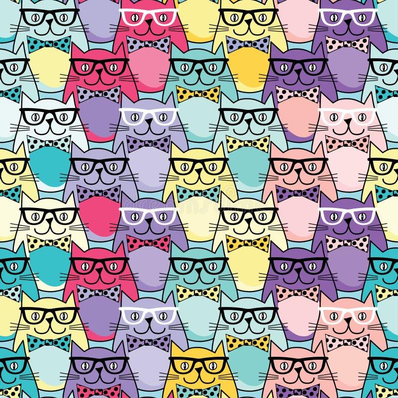 Fond sans couture avec les chats décoratifs en verres illustration libre de droits