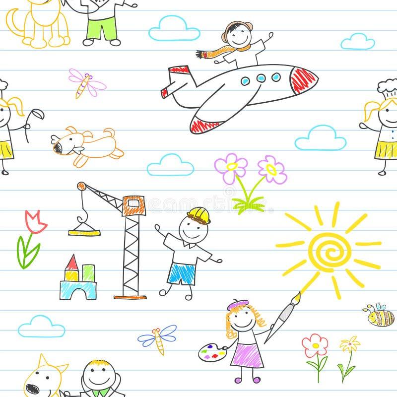 Fond sans couture avec les enfants heureux dans l'usage de travail illustration de vecteur