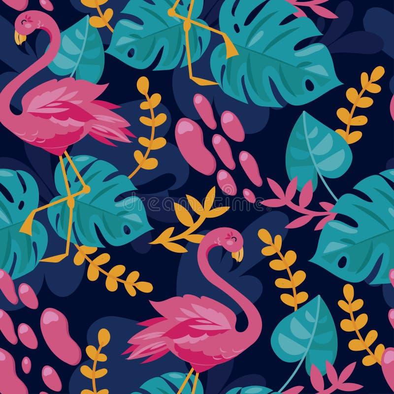 Fond sans couture avec les feuilles roses de flamant et de monstera illustration stock