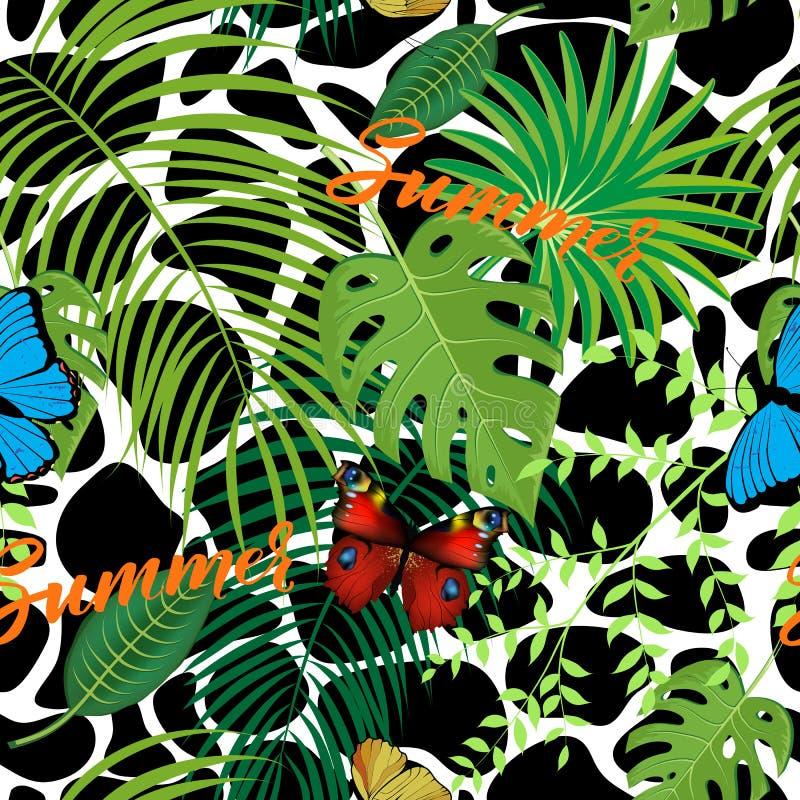 Fond sans couture avec les feuilles tropicales illustration libre de droits