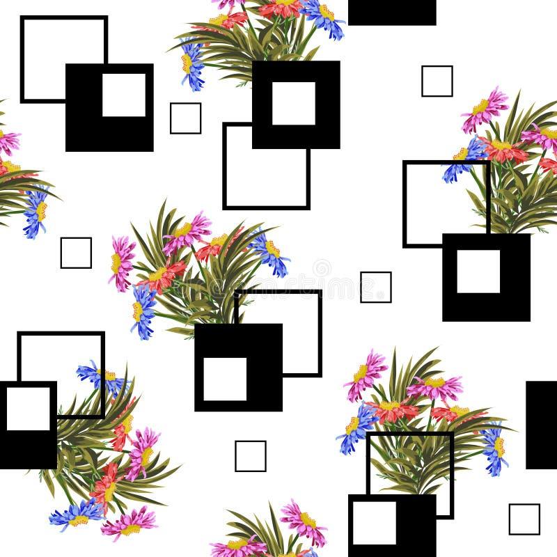 Fond sans couture avec les fleurs et les places mignonnes de jardin illustration libre de droits