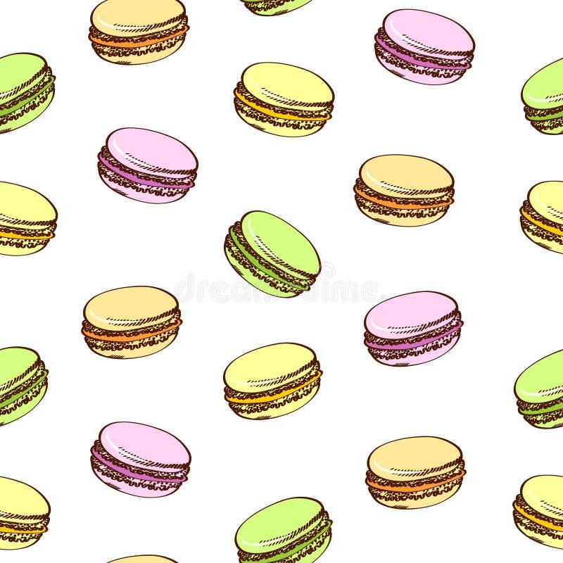 Fond sans couture avec les macarons colorés Type de dessin animé blanc d'isolement par balai illustration de vecteur