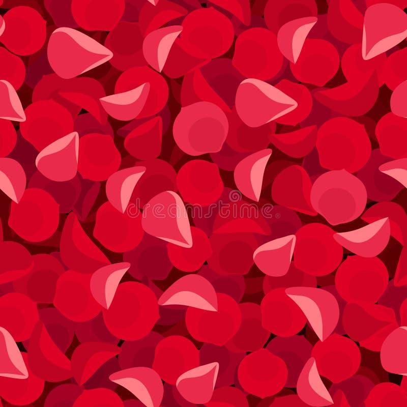 Fond sans couture avec les pétales de rose rouges Illustration de vecteur illustration stock