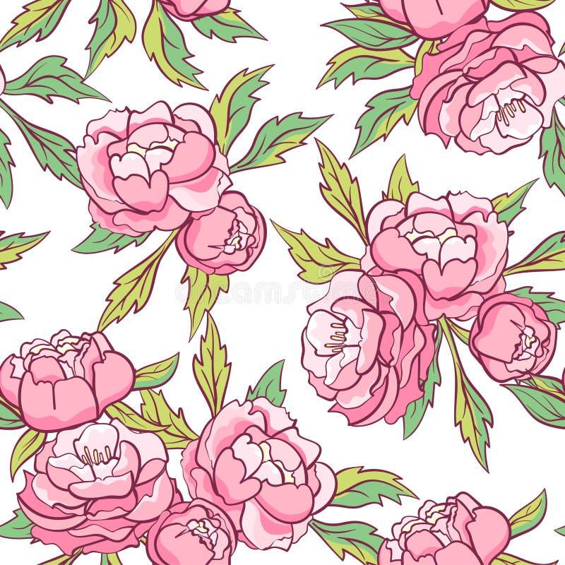 Download Fond Sans Couture Avec Les Pivoines Roses Illustration de Vecteur - Illustration du floral, fond: 76077899