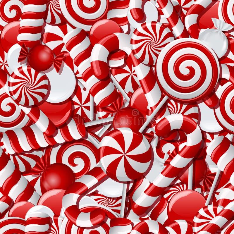 Fond sans couture avec les sucreries rouges et blanches illustration stock