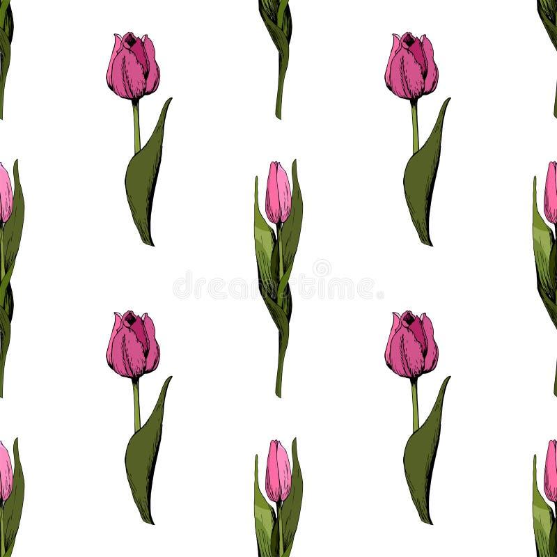 Fond sans couture avec les tulipes roses color?es Illustration Fond sans couture floral avec les tulipes color?es Humeur de sourc illustration de vecteur