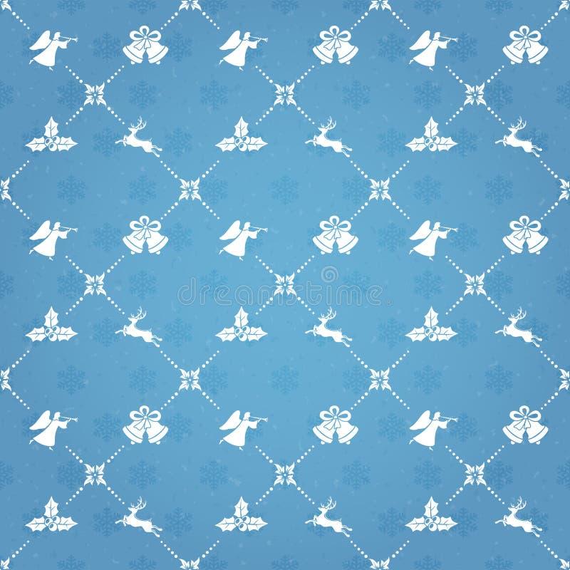 Fond sans couture bleu avec des éléments de Noël illustration stock