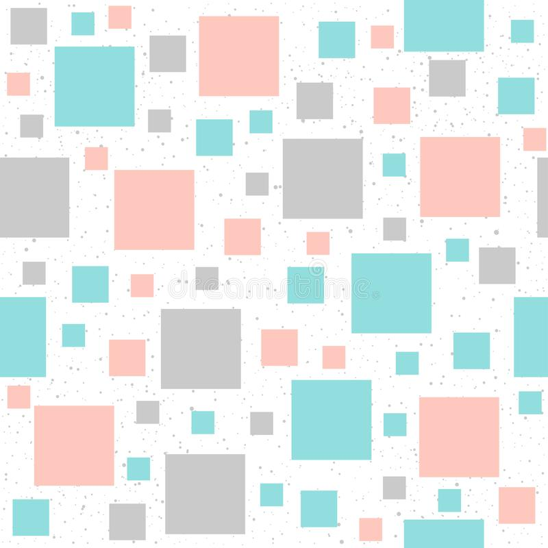 Fond sans couture carré en pastel mou Gris, rose et bleu illustration de vecteur