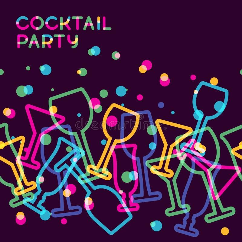 Fond sans couture coloré abstrait en verre de cocktail Concept FO illustration stock
