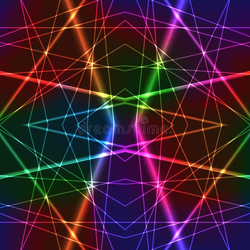Fond sans couture coloré de laser d'arc-en-ciel au néon illustration de vecteur