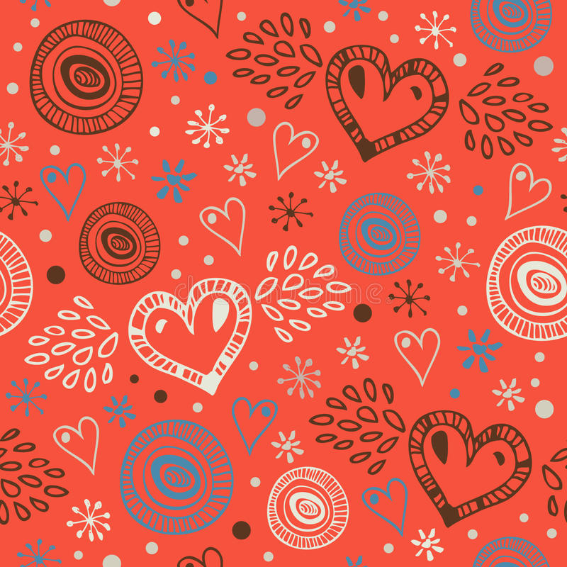 Fond sans couture décoratif abstrait avec des coeurs Modèle sans fin de griffonnage Texture mignonne ornementale Papiers peints m illustration de vecteur