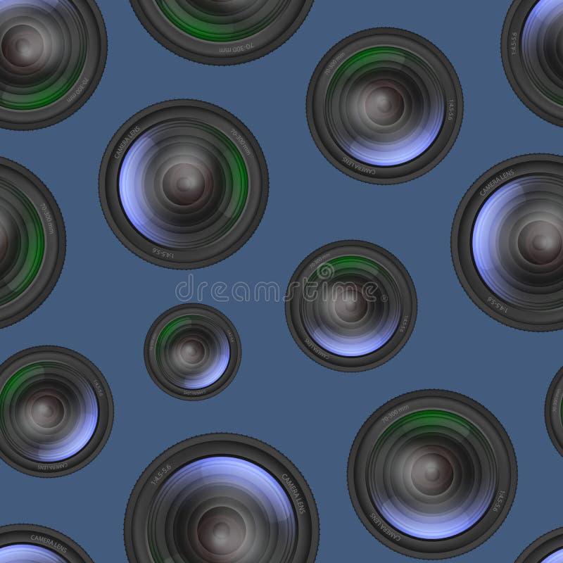 Fond sans couture détaillé réaliste de modèle d'objectif de caméra 3d Vecteur illustration de vecteur