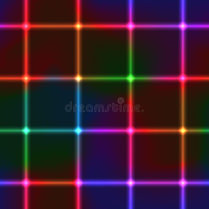 Fond sans couture d'éclat de laser de grille au néon de place illustration de vecteur