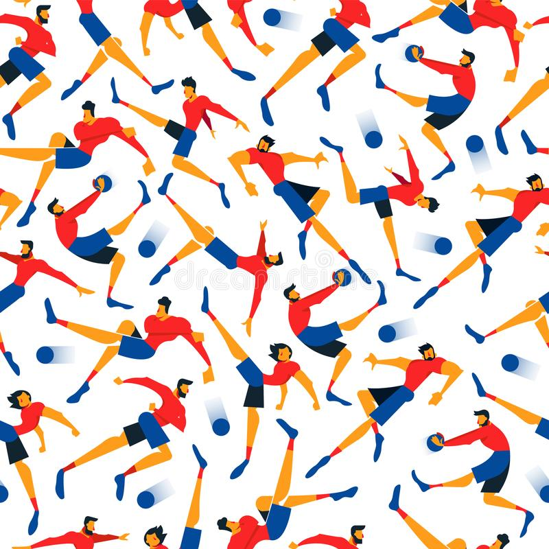 Fond sans couture d'équipe d'hommes de footballeur illustration de vecteur