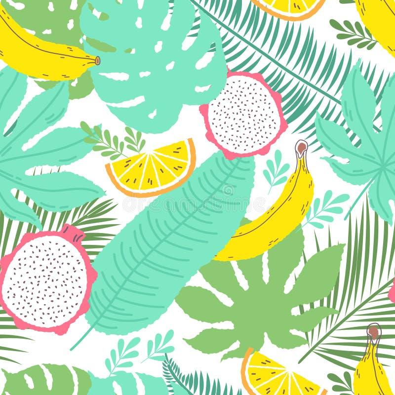 Fond sans couture d'été tropical avec des bananes illustration libre de droits