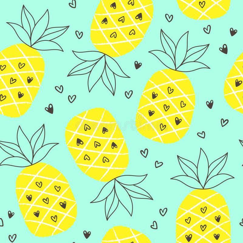 Fond sans couture d'été tropical avec répéter des ananas illustration stock