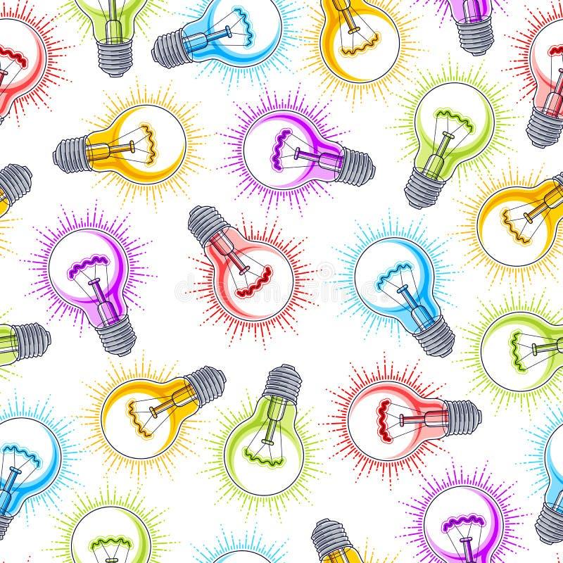 Fond sans couture d'ampoules, concept cr?atif de site Web d'id?es illustration libre de droits