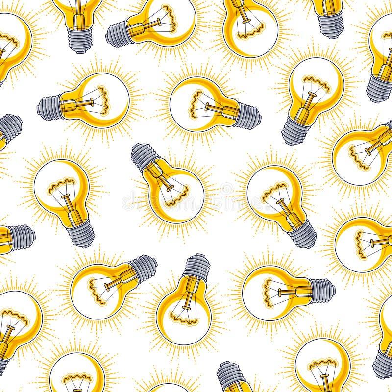 Fond sans couture d'ampoules, concept cr?atif de site Web d'id?es illustration de vecteur