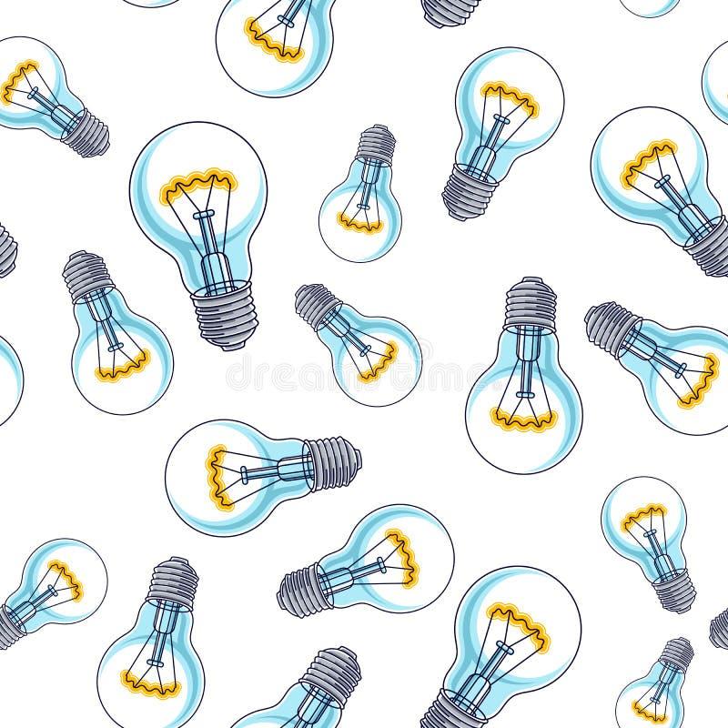 Fond sans couture d'ampoules, idées créatives concept, site Web pour des créateurs ou des concepteurs, papier peint ou site Web illustration de vecteur