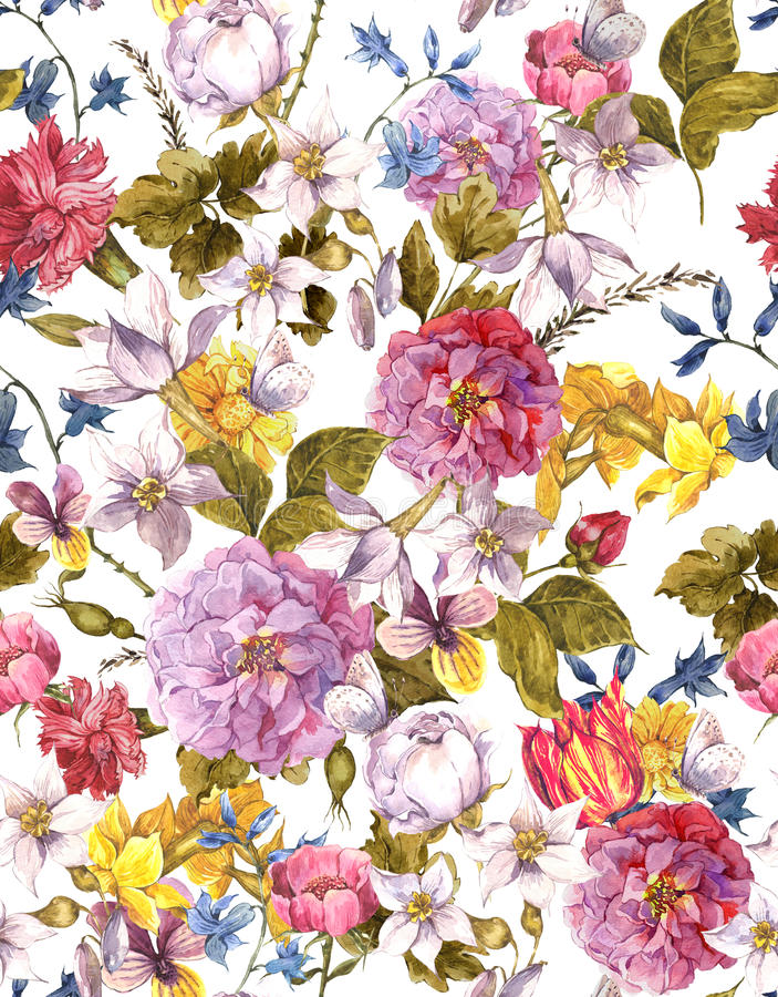 Fond sans couture d'aquarelle de vintage floral illustration libre de droits