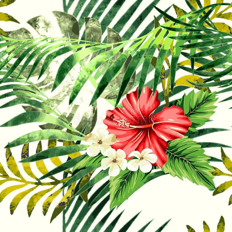 Fond sans couture d'aquarelle florale tropicale exotique illustration libre de droits