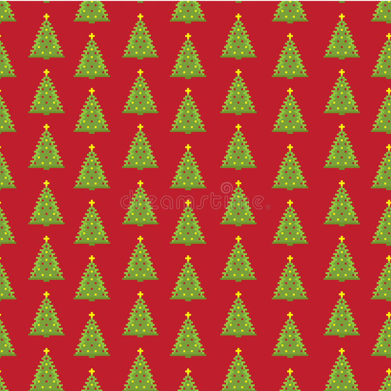 Fond sans couture d'arbre de sapin de nouvelle année de pixel photographie stock