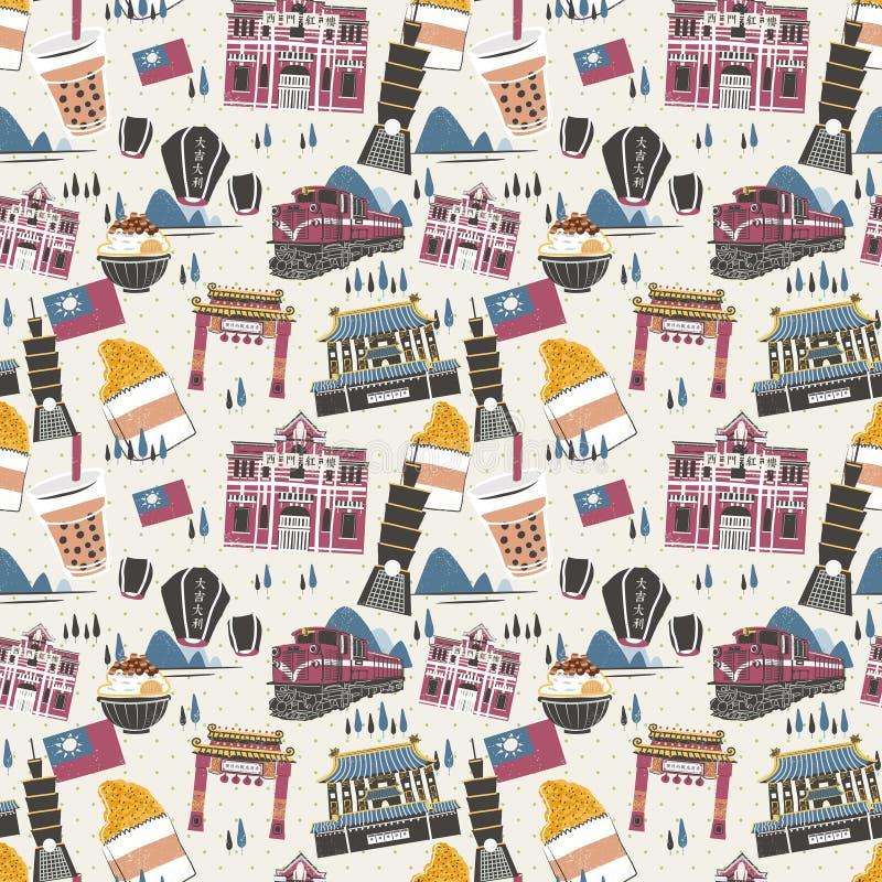 Fond sans couture d'attractions de Taïwan illustration stock