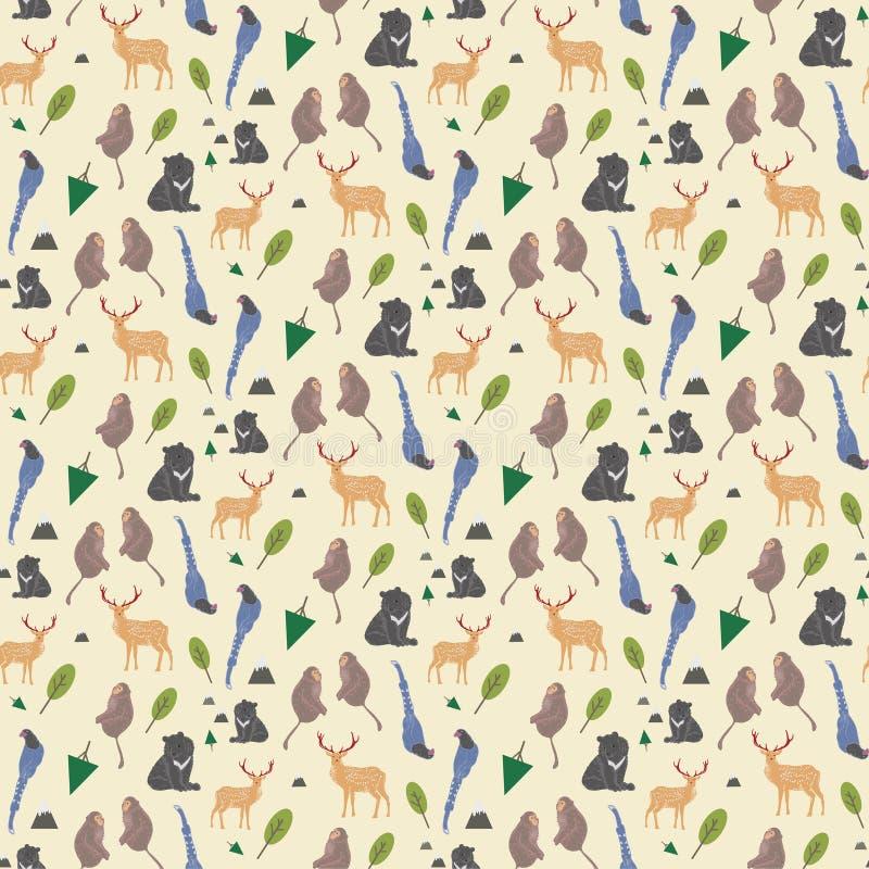Fond sans couture d'espèces endémiques adorables de Taïwan illustration stock