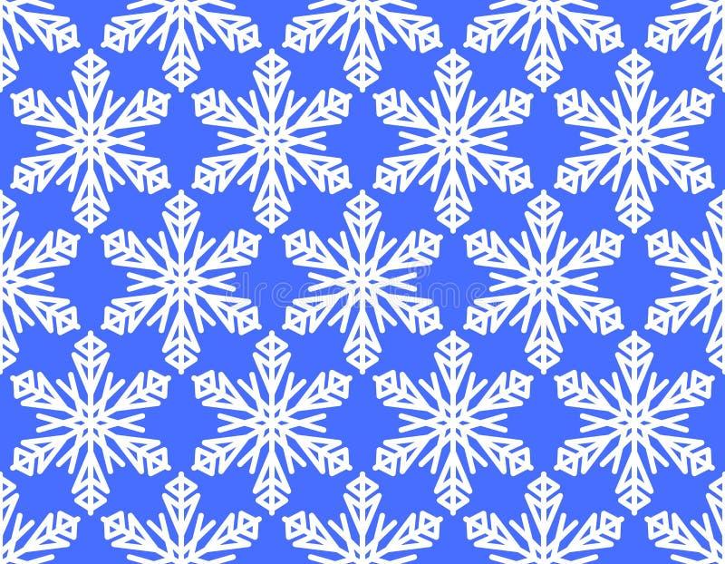 Fond sans couture d'hiver avec le motif de flocon de neige, flocons de neige blancs sur le fond bleu vif, illustration stock