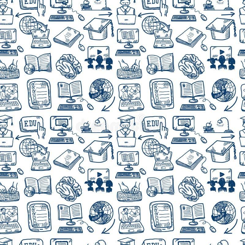 Fond sans couture d'icône en ligne d'éducation illustration stock