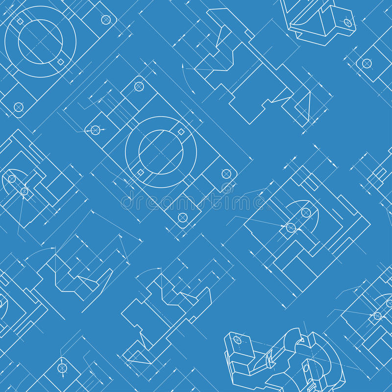 Fond sans couture d'ingénierie Vecteur de dessins de pièces illustration stock
