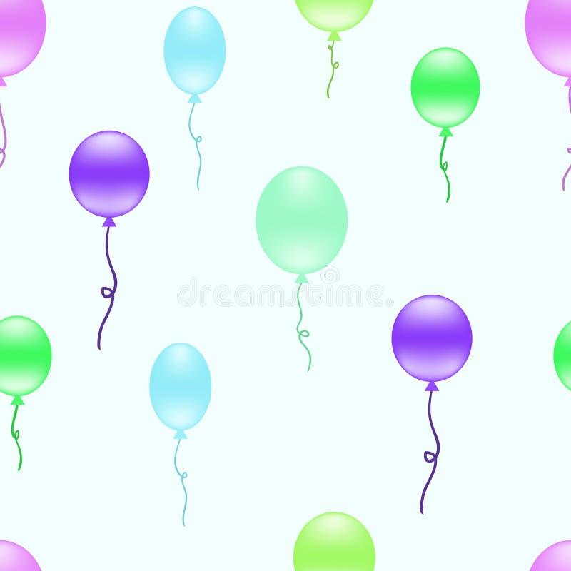 Fond sans couture de ballons multicolores Répétition du modèle avec les ballons colorés flottant dans le ciel illustration de vecteur