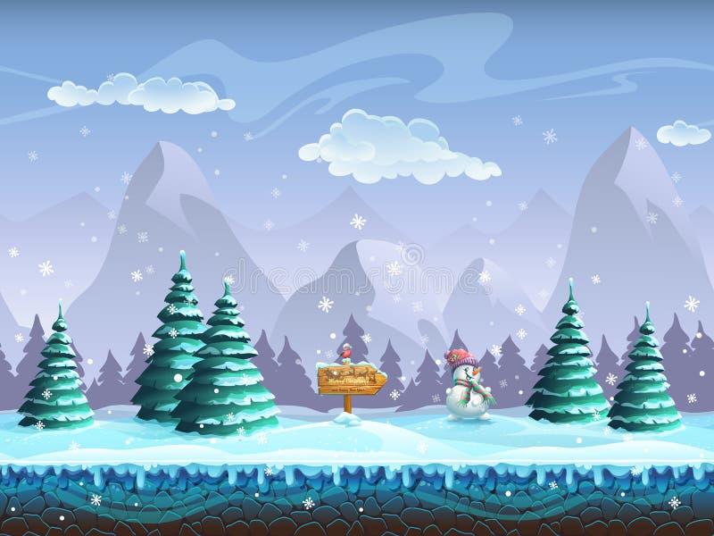 Fond sans couture de bande dessinée avec le bonhomme de neige et le bouvreuil de signe de paysage d'hiver illustration stock