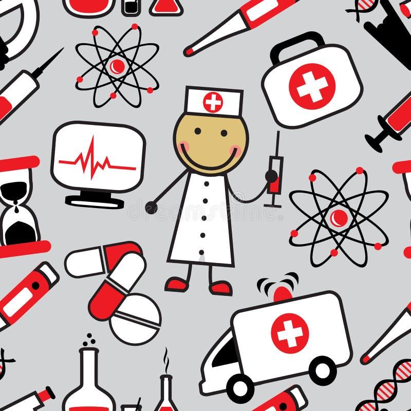 Fond sans couture de bande dessinée avec les icônes médicales illustration libre de droits