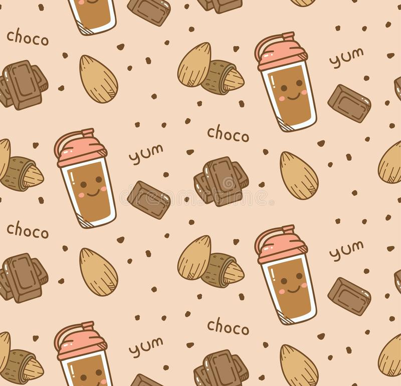 Fond sans couture de chocolat dans le vecteur de style de kawaii illustration stock