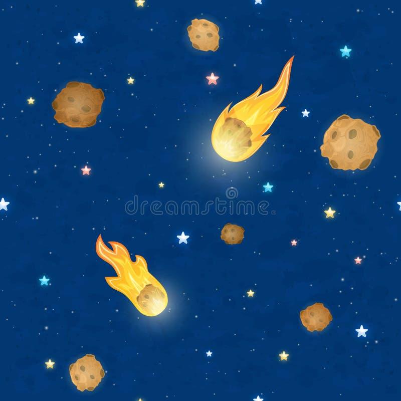 Fond sans couture de ciel avec des étoiles et des météorites illustration libre de droits