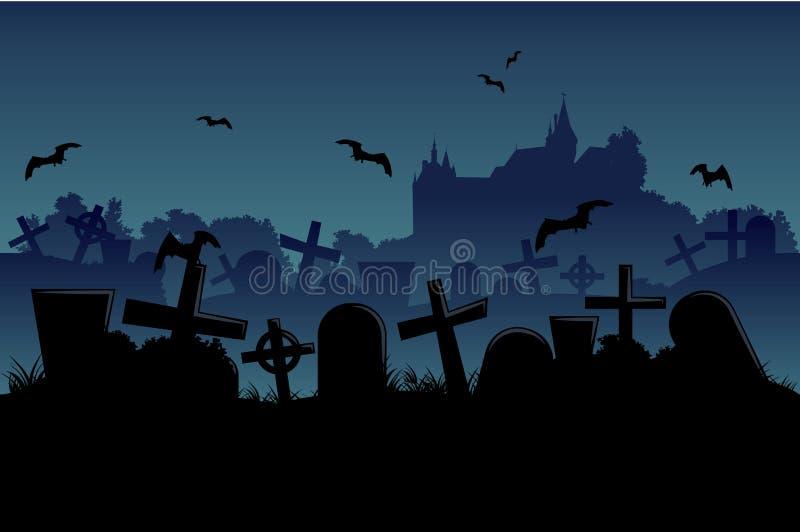 Fond sans couture de cimetière de nuit illustration stock