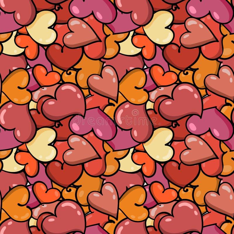 Fond sans couture de coeur au jour du ` s de Valentine de saint illustration stock