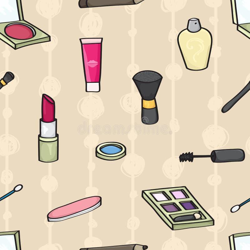 Fond sans couture de cosmétiques de bande dessinée illustration stock