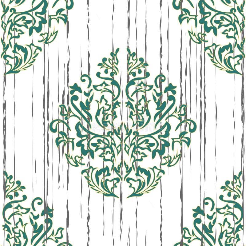 Fond sans couture de couleur beige et bleue dans le style de Damas Ornement de vintage Utilisation pour le papier peint, impriman illustration libre de droits