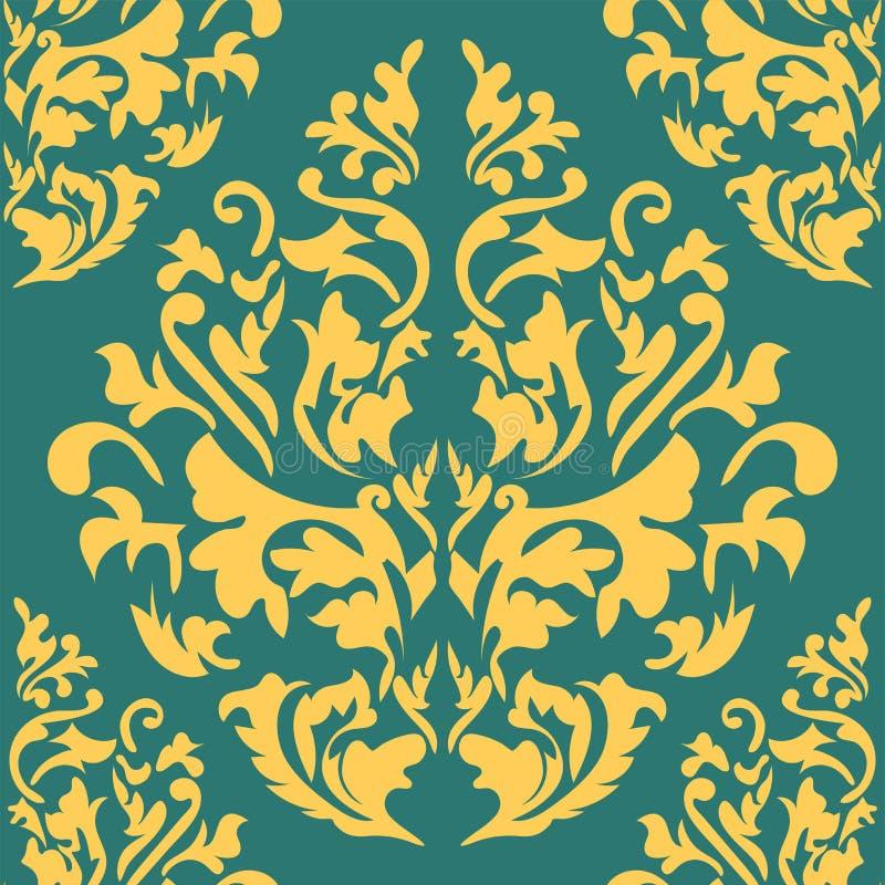 Fond sans couture de couleur beige et bleue dans le style de Damas Ornement de vintage Utilisation pour le papier peint, impriman illustration stock