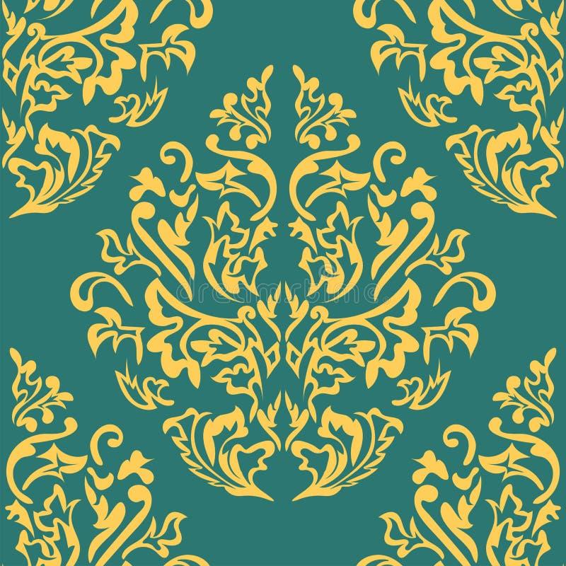 Fond sans couture de couleur beige et bleue dans le style de Damas Ornement de vintage Utilisation pour le papier peint, impriman illustration de vecteur