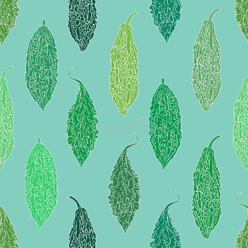 Fond sans couture de courge amère verte illustration stock